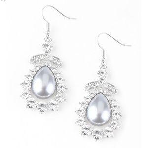 Silver White Pearl Rhinestone Dangle Earrings